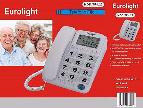 Telefono fisso, schermo con identificatore di chiamata, per anziani, da scrivania, con cifre TF-L22®