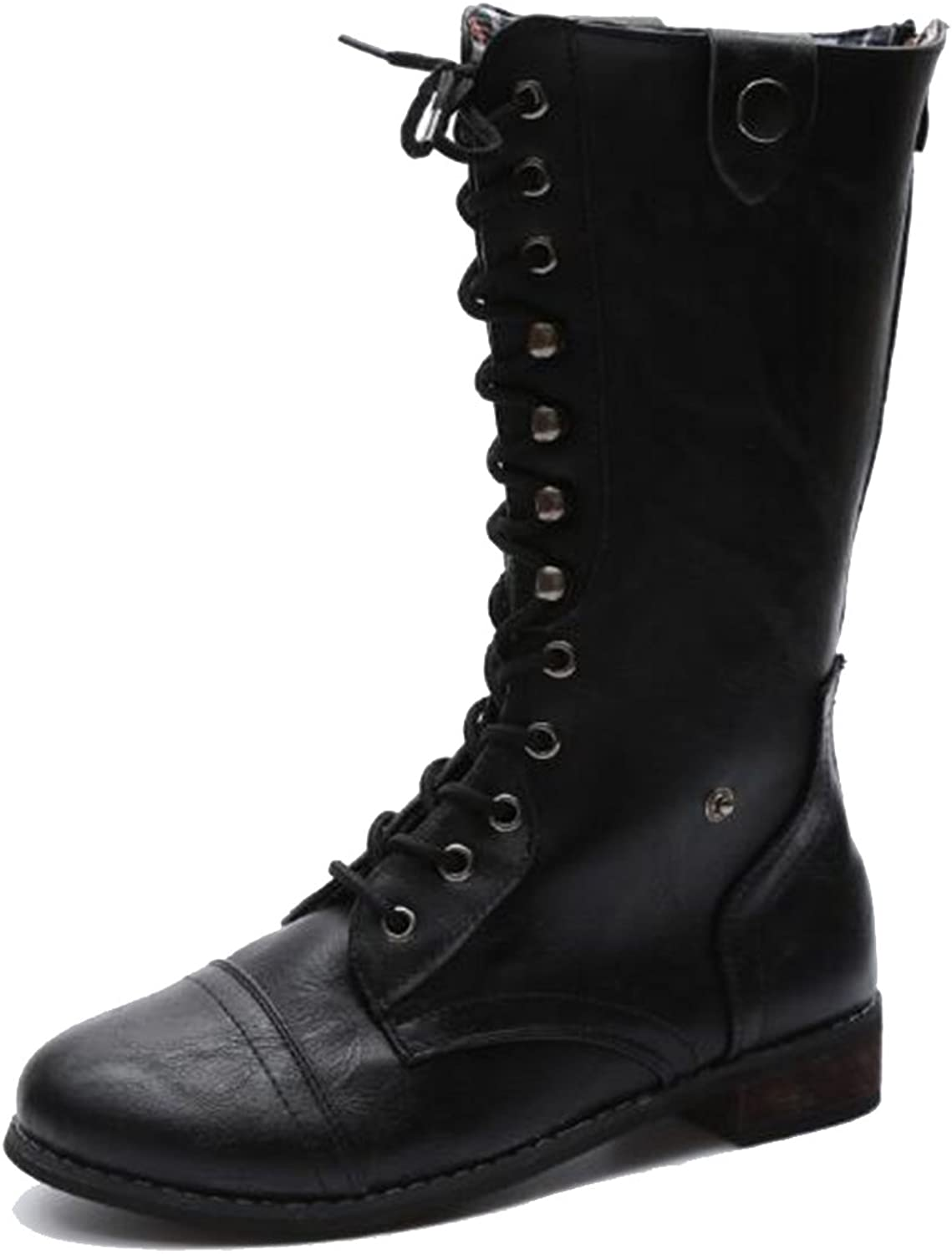 COVOYYAR Women's Vintage Lace Up Flat Mid Calf Riding Boots Winter shoes