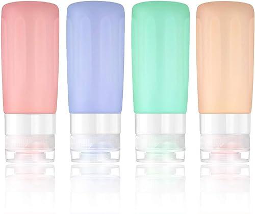 contenitori portatili a prova di perdite set di 4 approvato da compagnia aerea TSA SueH Design set di bottiglie di viaggio in silicone