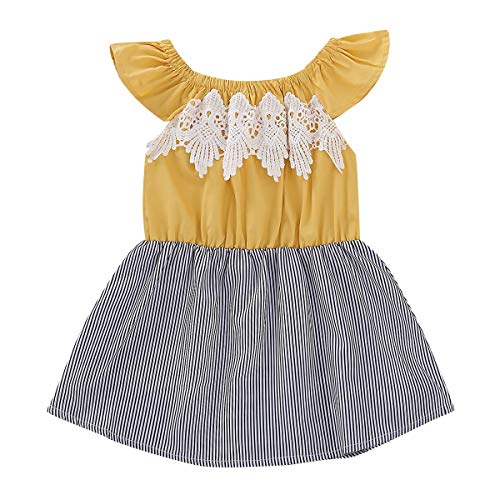Puseky Baby Toddler Girl Vestido de rayas verticales con volantes Sunding Swing