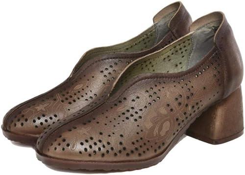 YYAMO Chaussures pour Femmes en Cuir Sandales Rétro Ethnique Occasionnel Décontracté à Talons Hauts Trou Creux épais avec Une Combinaison De Bas