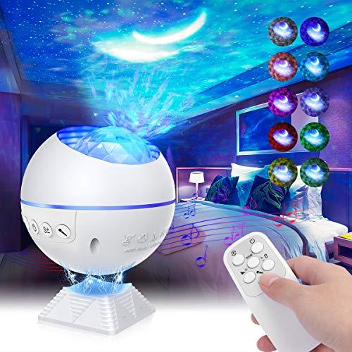 Mirapretty Sternenhimmel Projektor Lampe LED Nachtlicht Discokugel mit Fernbedienung, Einstellbare Helligkeit, Sterne,Mond,Wolken, Mini Starry Projektor Für Party,Auto,Schlafzimmer Erwachsene Kinder