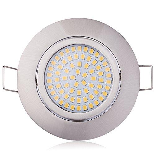 Preisvergleich Produktbild HCFEI 3er set LED 4W Slim Spot Einbaustrahler schwenkbar 230V Edelstahl Strahler Einbauleuchte,  Warmweiß 3000K,  Einbautiefe 20mm