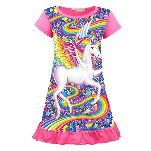 Allmeingeld Kleinkind Mädchen Prinzessin Nachthemden Unicorn Wings Nachtkleid Pink für 7 Jahre