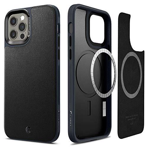 Cyrill von Spigen Leather Brick Hülle Kompatibel mit iPhone 12 & Kompatibel mit iPhone 12 Pro Hülle, (2020) (6,1 Zoll) integriertem Magneten Hülle - Graphit Kunstleder