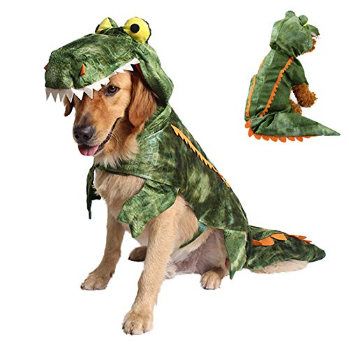 Filhome Dog Crocodile Costume Pet Halloween Christmas Cosplay Costumes Puppy Cat Outfits Hoodie Sweater Clothes for Small Medium Large