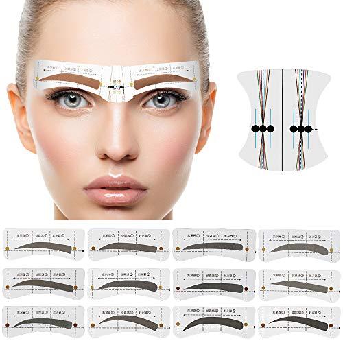 192 Paare Augenbrauen Schablonen, 12 Stile Augenbrauen Form Aufkleber für Schöne Augenbrauen Mädchen Damen Make-up Werkzeug mit 10 wiederverwendbare Augenbrauen Zeichnungskarten