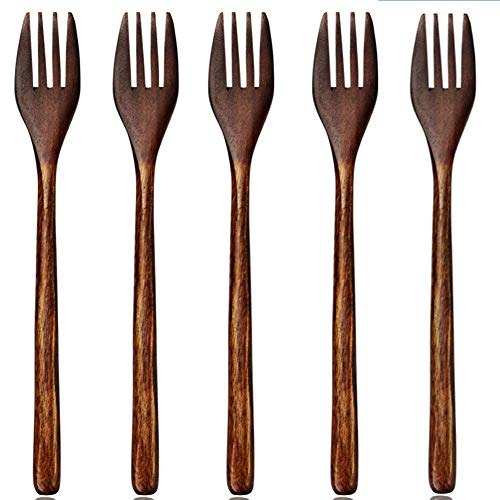 AOOSY Tenedores de madera, 5 piezas de madera estilo vintage marrón, práctica mesa de madera japonesa, ensalada, cena, cocina, tenedor para niños y adultos