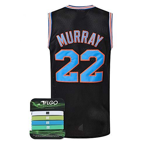 AFLGO Murray #22 Weltraum Basketball Movie Jersey Kostüm S-XXL 90er Jahre Kostüm Hip Hop Party Kleidung Enthalten Set Armbänder - Schwarz - XX-Large
