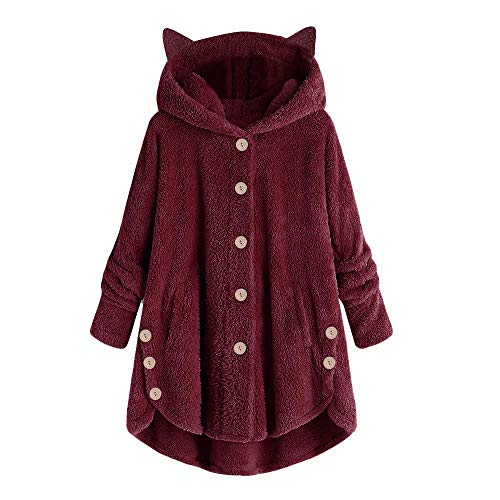 Xinantime Womens Overcoat Button Solid Coat Tops Hooded Pullover Loose Sweater Casual Blouse Plus Size Wine
