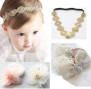DANMY Baby Girl Super Stretchy Headband Big Lace Petals Flower Baby Hair Band Newborn Hair Accessories (set4 (as Shown)