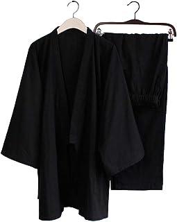 Blancho Pyjamas herr Kimono kostym träningsdräkt lös andningsbar bomull dubbel gasväv