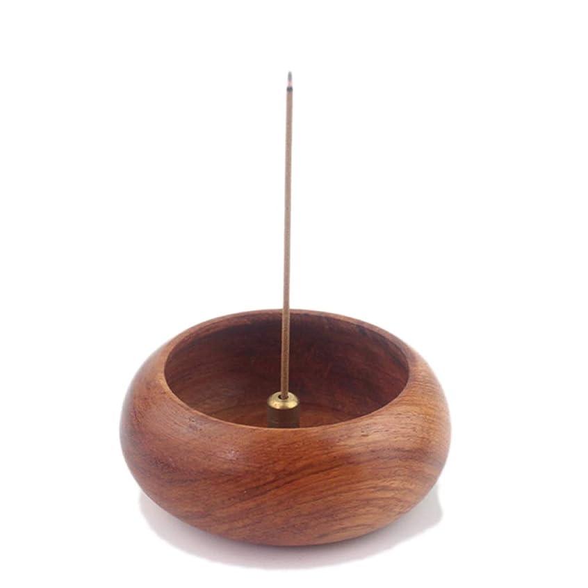 執着マント入り口ローズウッドボウル型香炉ホルダーキャンドルアロマセラピー炉香ホルダーホームリビングルーム香バーナー装飾 (Color : Wood, サイズ : 6.2*2.4cm)
