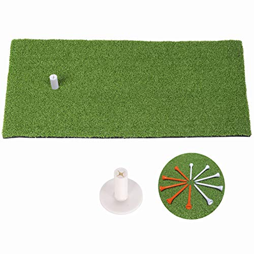 SkyLife Golf Mat 12'' X 24'' Residential Practice Hitting Grass Mat with Removable Rubber Tee Holder, Home Backyard Garage Outdoor Practice (12'' X 24'')