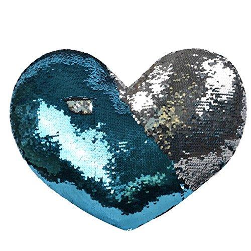 Taie d'oreiller de paillettes réversible de sirène d'Awhao, couverture d'oreiller en forme de coeur qui change de couleur pour la décoration à la maison et le cadeau