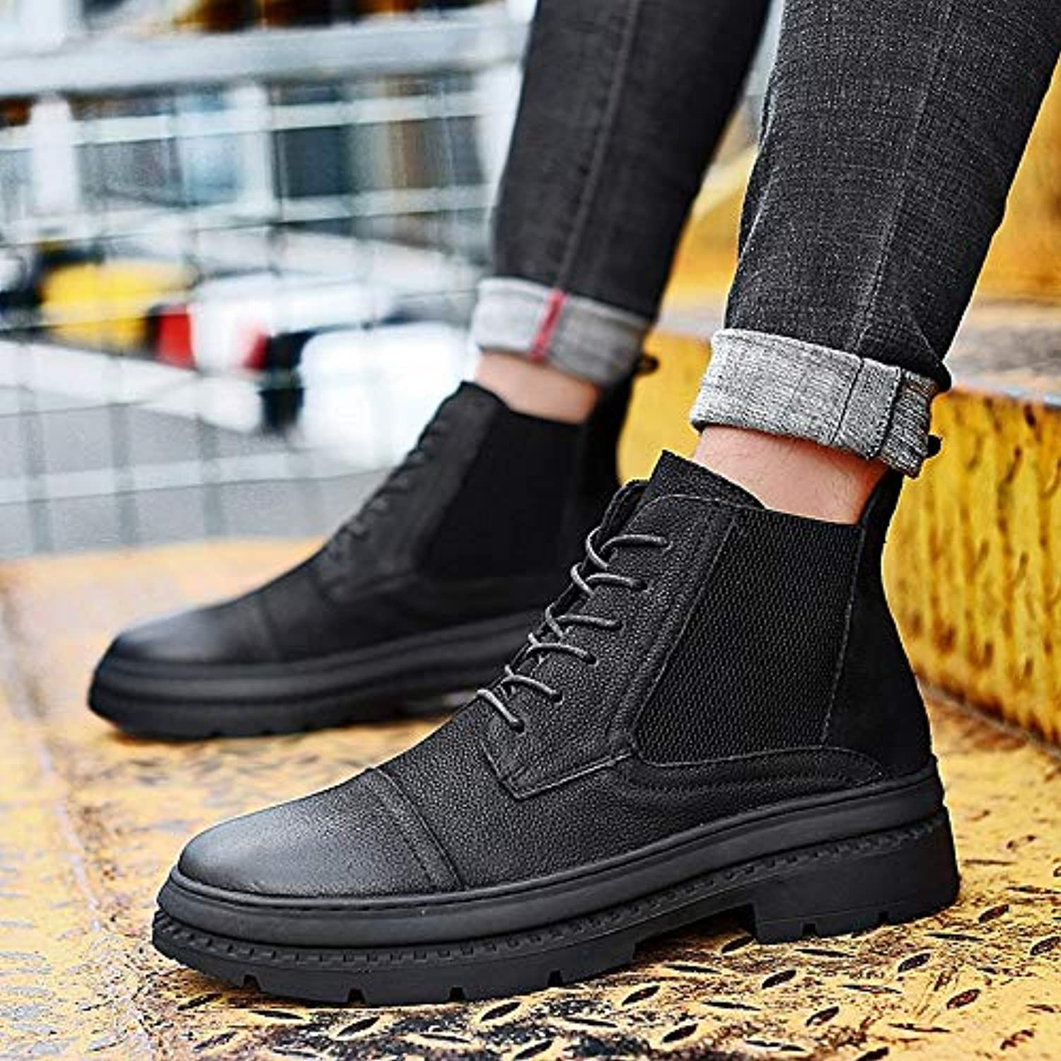 LOVDRAM Boots Men's Winter New Men'S shoes Leather shoes High To Help Leather Large Size shoes Martin Boots Large Size 38 47 Yards Single shoes