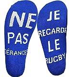 Etitulaire Si Tu vois ça,Apporte Moi Une Bière Chausette Cotton Drôle Funny Socks écrivent en Française Thick Socks Pour homme femme Cadeau de Noël (rugby)