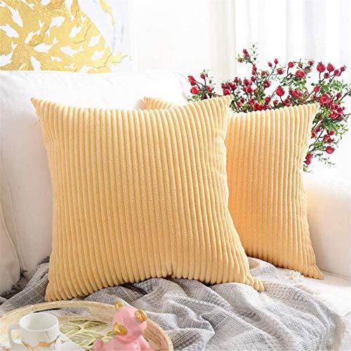 Houpoo Juego de 2 fundas de cojín de pana cuadradas a rayas, para decoración de salón o dormitorio, beige, 45 x 45 cm