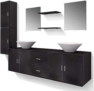 vidaXL Ensemble 9 pcs de mobilier Meuble de Salle de Bain et lavabo Vasque Noir