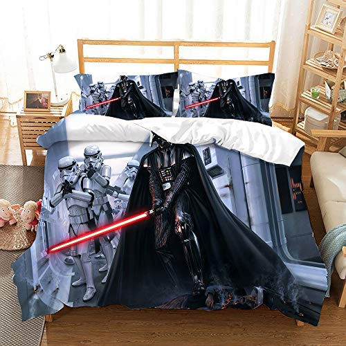 NOOS Star Wars Bedding for Kids and Teens 3D Star Wars Duvet Cover Set Twin Size, Best Gift for Kids Soft Microfiber Bed Set 3PC(1 Duvet Cover and 2Pillowcases) No Comforter Inside