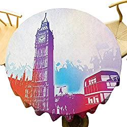 DRAGON VINES Kitchen Tablecloth London Round Table Cover for Interior and Exterior Decoration,Historical Big Ben and Bus Great Bell Clock Tower UK Europe Street Landmark Diameter 36