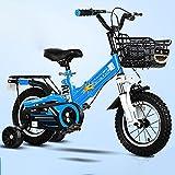 Bicicleta Infantil Plegable con Ruedas De Entrenamiento, AleacióN De Acero Al Carbono Y Doble Sistema De Frenado, Bicicleta para NiñOs NiñAs Ajustables, 12-18pulgadas