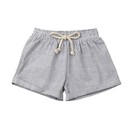 YUNGYE Vêtements d'été Garçon Fille Pantalon Court Pantalon Coton Bas Shorts Solide Coton Lin Leggings 6M-3T (Color : Gray, Kid Size : 18M)