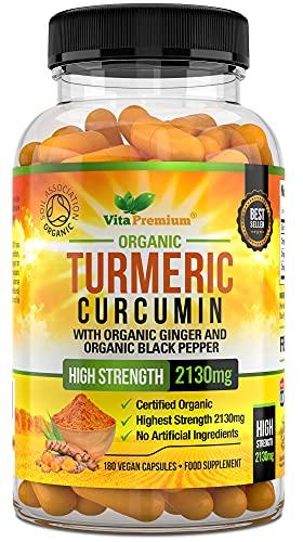 Organic Turmeric Curcumin 2130mg per Serving with Ginger and Black Pepper - 180 Vegan Capsules - High Strength Supplement
