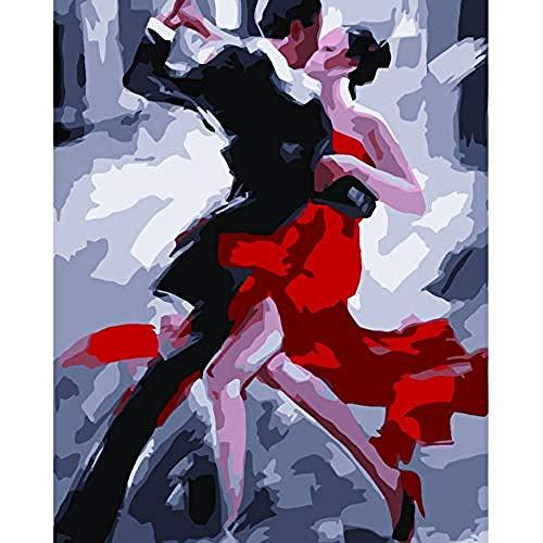 Kxch Abstrakte Tangotänzerin Digital Paint Painting nach Zahlen Färbung nach Zahlen Zeichnung Bilder Home Decoration Freundin Geschenk 40X50CM