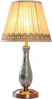 Lampe de Table en céramique Classique Style européen Salon Chambre Lampe de Chevet Tissu plissé Lampe de Bureau en Forme d...