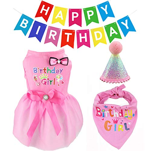 Dog Birthday Bandana Girl Hat Pink Bow Tie Dress Happy Birthday Banner Decorations Set Birthday Party Supplies for Dogs Cats Girl (S3)