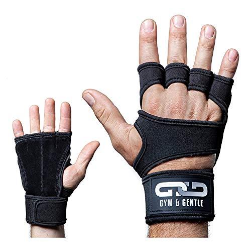 Gym & Gentle Guantes de fitness para hombre y mujer, guantes de entrenamiento, muñequera, entrenamiento de fuerza, culturismo, crossfit, color negro, M