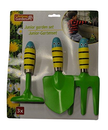 Tuingereedschapset Junior 3-delig Motief dier tuingereedschap zandbak budeldoos speelgoed metaal hout