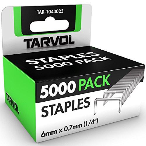 Box of 5,000 Staples (Heavy Duty - Huge Value Pack) 1/4 Inch Length - Premium Grade - Full Length Strips - Jam Free Design