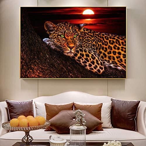 Geiqianjiumai Moderne abstracte muurschildering luipaard dier luipaard luipaard kunst poster woonkamer print foto frameloze schilderij