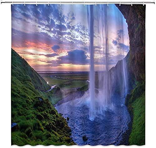 Cortina de ducha con cascada de Tailandia, cascada de montaña, piscina, río, naturaleza, paisaje, impresión de imagen para el hogar, tela de decoración de baño, incluye ganchos de 72 x 72 pulgadas