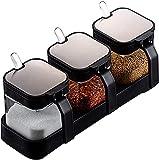 HBLJ Kitchentransparent Vidrio Condimento Tarro Conjunto de Caja Conjunto Spice Jar Cocina Condiment Contenedor Crueter con Tapa y Cuchara Utensilios de Cocina, 3 Piezas/Conjunto con Bandeja-Verde