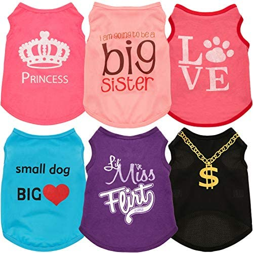 6 Pieces Pet Dog Shirts Soft Cotton Puppy Vest Dog Sweatshirt Pet Dog Cat Clothes for Chihuahua product image