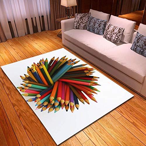 RGBVVM Alfombra Salon Lápices de Color 60 x 90 cm Moderna mullida Alfombra de Salón Dormitorio Alfombras Antideslizante - para Cocina, Sala de Estar, Dormitorio, Cuarto de niños