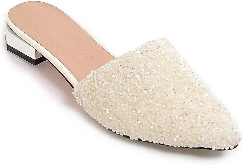BalaMasa Womens Studded Beaded Burnished Urethane Slides Sandals ASL05783