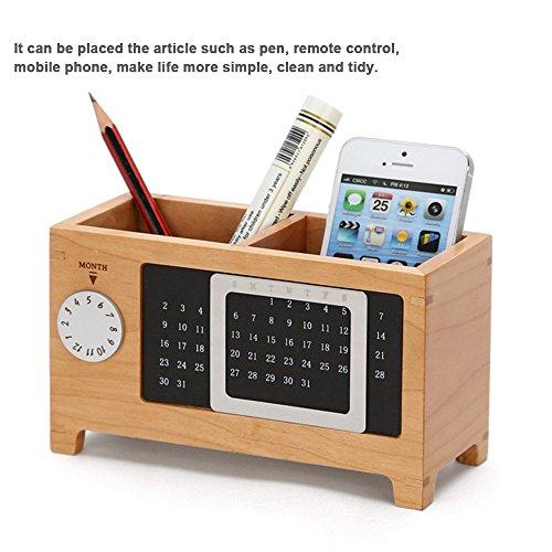 Aupooe ペンスタンド 木製 高品質 上質 卓上 収納 ボックス おもしろ 文房具 かわいい 収納ラック カレンダーペンホルダー収納ボックス 便利な 文具ホルダー おしゃれ 多機能オフィス文具 ペン立て