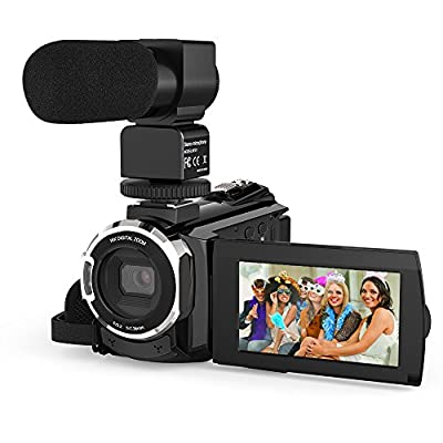 Video Camera 4K Camcorder, Andoer 48MP WiFi Digital YouTube Vlogging Camera Recorder 16X Digital Zoom with 3 Inch Touchscreen External Microphone IR Infrared Night Sight by Andoer