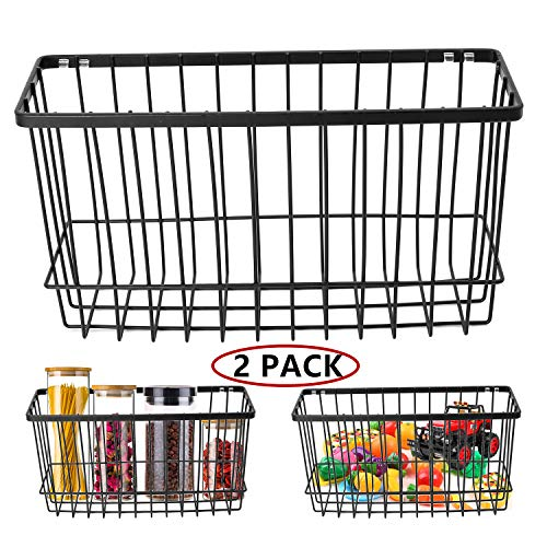 Over the Cabinet Door Organizer Holder, EINFAGOOD Wall Basket No Drilling with Adhesive Pads, 2 Pack Black(Door Baskets)