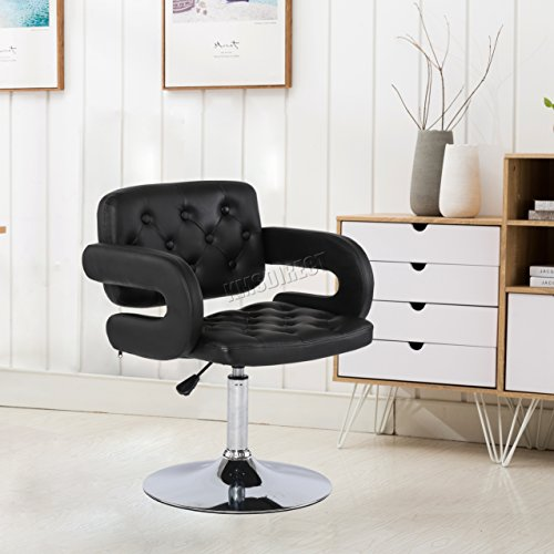 WestWood Modern Beauty Salon Barber Chair Professional Hairdressing Hair Cut Shaving Styling Classic Fashion Hydraulic Lift Adjustable Height PU Leather SC02 Black