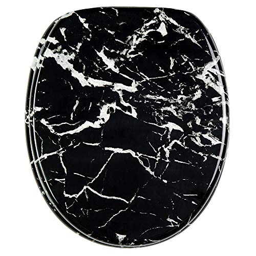 Asiento para inodoro de cierre suave, gran selección de atractivos asientos de inodoro con calidad superior y duradera de madera (Mármol negro)