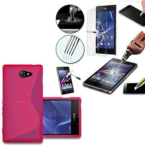 ANNART - Carcasa para Sony Xperia M2/M2 Dual D2303 D2305, Carcasa S-Line TPU Gel Silicona para Sony Xperia M2/ M2 Dual D2303 D2305, Compatible con Sony Xperia M2, Color Rosa