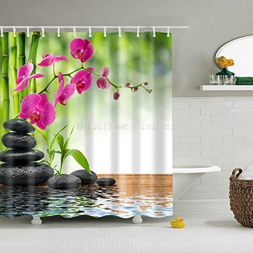 Shower Curtains - Green Bamboo Rose Red Flower Design Custom Shower Cu