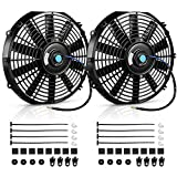 AUTOSAVER88 (Pack of 2) 12' High Performance Electric Radiator Cooling Fan Push Pull Slim 12V 80W 1550 CFM with Mounting Kit(Diameter 11.73' Depth 2.56')