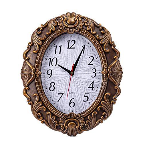 Reloj de Pared Ovalado Retro de 14 '' silencioso sin tictac para decoración del hogar Reloj de Pared para el hogar/Oficina/Escuela (C 36 cm)