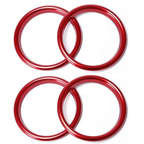 IWILCS 4Pcs Auto Lüftungsringe, Konsole Klimaanlage Dekoration Ring, Lüftungsschlitze Dekoringe Dekoration Luftaustritt Lüftung Ringe rot Alu Legierung Styling Blenden Klima
